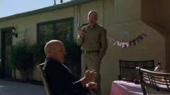 At the baby shower, Walt and Hank have a drink in the garden.