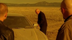 Mike drives through the desert.