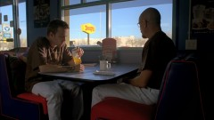 Walt and Jesse eat at Denny's, Pulp Fiction style.