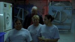 Walt leads out the cleaning ladies.