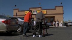 Hank takes Walt Jr. to Los Pollos.