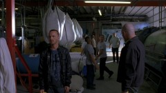 Walt and Jesse burn down the lab.