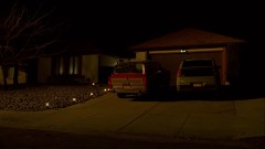 Walt leaves his house in the night.