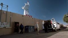 Walt's truck is loaded behind Saul's office.