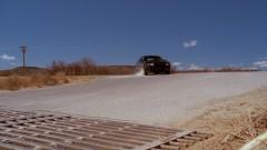 Walt makes a turn in the desert.