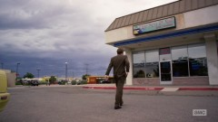 Saul arrives at the spa/his office