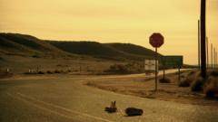 A Los Pollos Hermanos truck stops near the Mexico-USA border