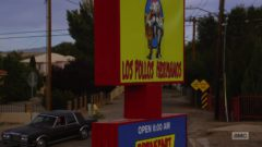 Mike watches the guy enter Los Pollos Hermanos