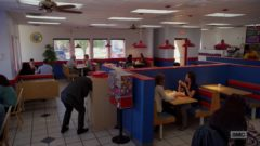 Jimmy has breakfast atGus Fring's restaurant, then meets Mike outside