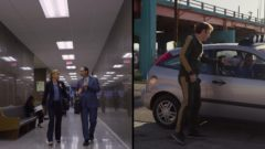 Splitscreen shot of Kim at the courthouse and Saul near an overpass